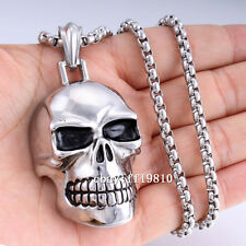 Punk Skull Mens Chain Black Silver 316L Stainless Steel Chain Pendant Necklace