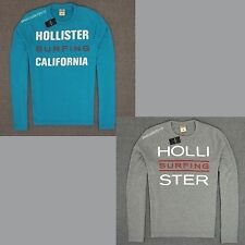 HOLLISTER NEW MENS LONG SLEEVE T SHIRT,NWT,BY ABERCROMBIE,NWT,GRAY AND BLUE