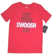 Nike Boys Short Sleeve Red Cotton T Shirt  NWT Sizes S  or  L Get Your Swoosh On
