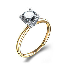 Certified Solitaire 1/4 Ct. F/VS Diamond Engagement Ring 10K Yellow White Gold