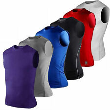 Mens Base Layer Vest Stretch Compression Tank Top Gym Gear Fitness Shirt Jersey