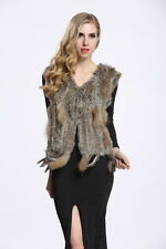 Hot Real Rabbit Fur Vest Womens Waistcoat Knitted Rabbit Fur Gilet Warm V0003