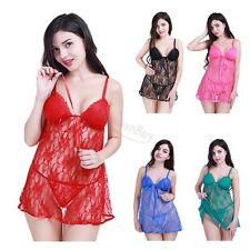Women Sexy Lingerie Nightwear Underwear Sleepwear Lace BabyDoll Dress G G-string