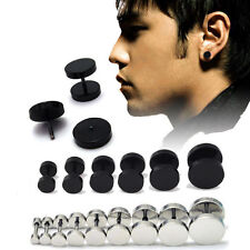 1Pair Unisex Mens Round Barbell Punk Stainless Steel Ear Studs Earrings Gothic