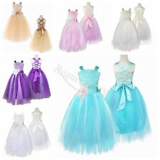 Wedding Bridesmaid Ribbon Bow Flower Girl Dress Formal Birthday Party Pageant