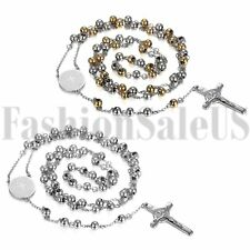 Men's Womens Gold/Silver Stainless Steel Jesus Cross Rosary Beads Necklace Chain