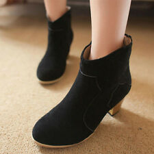 Womens Low Heel Booties Ankle Zipper Lace Up Boots Fashion Martin Boots Shoes