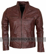 Mens Biker Vintage Motorcycle Antuque Brown Cafe Racer Leather Jacket