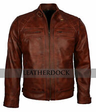 Designer Men Vintage Brown Crocodile Biker Motorcycle Genuine Leather Jacket