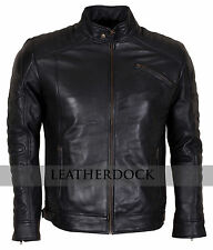 Designer Men Padded Black Biker Genuine Leather Motorcycle Jacket - Top Quality