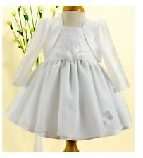 Jaan Collection Girls White Butterfly Christening & Special Occasion Dress
