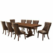 Homelegance Marie Louise 9-Piece Expandable Trestle Dining Table Set -