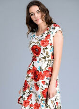 S-M-L Gilli A-Line Floral Fit N Flare Dress - Ivory Red