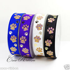 10Y 7/8 22mm Gold Sparkle Tiger Paw Print  Cheer Grosgrain Ribbon U Pick