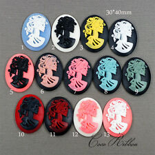 6 pcs 40x30mm Large Gothic Lady Skeleton Skull Resin Lucite Cameo Cabochon A28