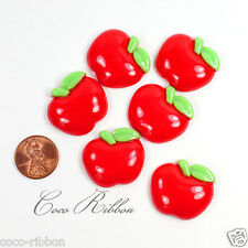27mm 12/24/50pc Red Sweet Apple Bling Flatback Resin Cabochons
