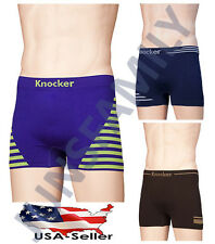 Lot Of 6 or 12 Mens Microfiber Seamless Boxer Briefs Stripes Underwear Knocker