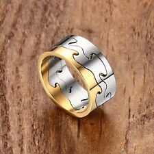 9.5mm Silver/Black Gold Plating Stainless Steel Band Men Wedding Rings Size 8-11
