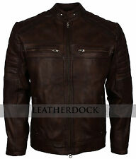 Men Vintage Dark Brown Antique Motorcycle Styled Retro Biker Leather Jacket