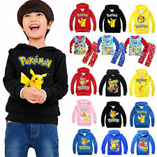 Pokemon Kids Fleece Hoodies Pyjamas Sleepwear Pikachu Hoodies Pullover Jacket