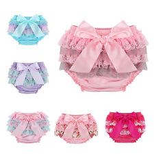 Cute Baby Girls Lace Ruffles Princess Bloomer Diaper Cover Pants Panty Briefs