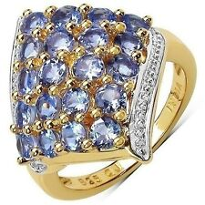 18K Yellow Gold Plated 2 Carat Genuine Tanzanite .925 Sterling Silver Ring