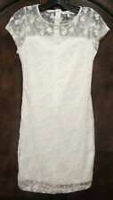 MONTEAU NEW Floral Lace Semi-Sheer Sweetheart Cotton Cap-Sleeve Ivory Mini Dress