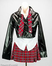 School Girl Costume Adult Sexy 4 Piece Blk/Red/Wht. Skirt Blouse Tie & Jacket