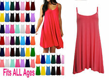 Ladies Long Camisole Cami Plain Strappy Swing Dress Vest Top Flared Sleeveles*CL