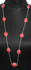 RED JASPER COLOR STONE NECKLACE IN .925 STERLING SILVER OVERLAY-GN1035