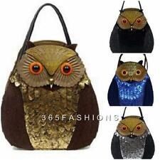 STATEMENT FUNKY OWL SHAPE FAUX LEATHER FUR BEADED TOTE HANDBAG