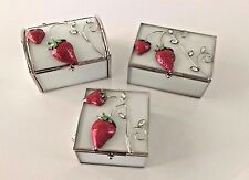 Bejeweled, Enameled, Metal and Glass Trinket Boxes with Strawberry Design