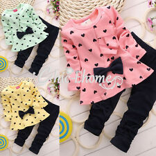 Baby Girl Princess Girl Heart-shaped 2PCS Set Outfits Bowknot Tops Sweater Pants