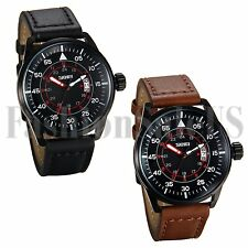 Men's Infantry Army Military 1224H Dial Leather Strap Quartz Wrist Date Watch