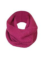 Ladies Womens Acrylic Chunky Popcorn Knitted Tube Snood/Scarf, 56 x 38cm, Berry