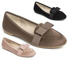 LADIES WOMENS FLAT DOLLY SHOES BOW WORK OFFICE SCHOOL PUMPS LOAFERS BALLET SIZE