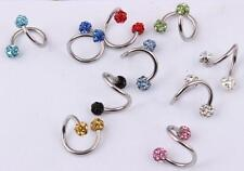 16G Stainless steel Spiral Twist Ear Bar Nose Lip Eyebrow Ring Jewelry Piercing