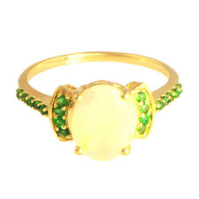 1.30 Ct. Ethiopian opal & Chrome Diopside Ring in 9 kt Solid Yellow Gold