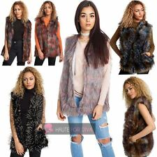 WOMEN'S NEW SLEEVELESS FLUFFY FAUX FUR MULTICOLOUR GILET WAISTCOAT M L