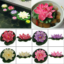 Artificial Lotus Water lily Floating Flower Plant Ornament Garden Pool Pond Tank