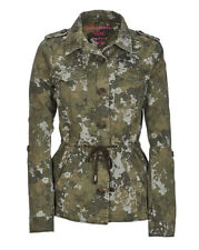 AEROPOSTALE WOMENS JACKET FLORAL CAMO ANORAK COAT JUMPER MILITARY GREEN