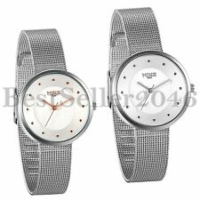 Womens Ultra Thin Stainless Steel Mesh Band Adjustable Quartz Analog Wrist Watch