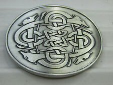 Celtbelt Silver Tone Celtic Ireland Jewelry Oval Belt Buckle Dog Knot Hound