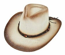 Straw hat Cowboy Hat beige brown / black white flamed with various Hatband