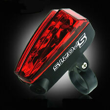 Red Laser Beam Cycling 5 LED Rear Lights Safety Tail Lamp + Battery