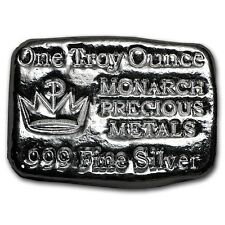 1 TROY OUNCE .999 SILVER MONARCH HAND POURED CROWN BAR + 3 JARS 24K GOLD FLAKES