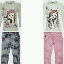 Girls Jeans Tie Dye & Long Sleeve Motif Top Cotton Outfit Age 3 4 5 6 7 8 Years