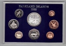 FALKLAND ISLANDS - 8 DIF PROOF COINS SET: 1/2 - 50 PENCE 1982 YEAR ANIMALS MINT
