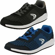 Boys Clarks Frisby Rise Inf & Jnr Black Or Navy Combi Lace Up Trainers