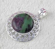 Natural Ruby Zoisite Cabochon 20mm Gemstone 925 Sterling Silver Loop Pendant